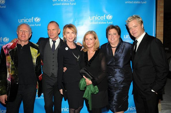 (L-R) Co-Chair Bobby Sager, Sting, UNICEF U.K. Ambassador Trudie Styler, Co-Chair Elaine Sager, Caryl Stern, President & CEO U.S. Fund for UNICEF and musician Chris Botti attend the UNICEF Children's Champion Award dinner at The Park Plaza Castle on October 20, 2011 in Boston, Massachusetts.