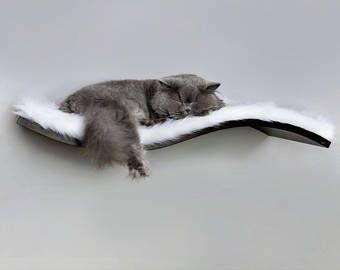 Repisa de onda, perca de gato, piel sintética blanca como la nieve, estantes, muebles de gato, gatos camas de lujo, cama gato estante flotante, estante estantes de gato wenge