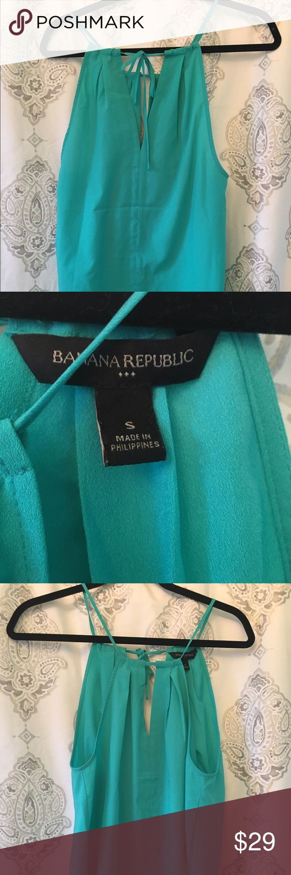 Banana Republic Teal tie top Never worn! Banana republic top that ties in the back! Such a fun and flirty top that is perfect for warm spring and summer nights out! Banana Republic Tops Tank Tops
