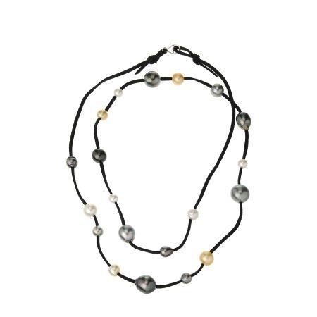 Matahina Multi SSea & Tahitian Pearl Suede Necklace SSilv