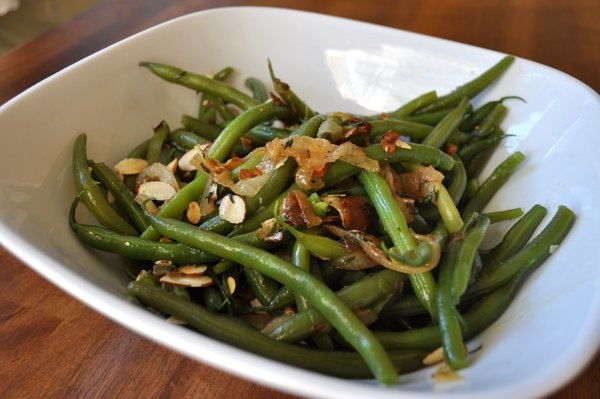 Not Your Mother's Green Bean Casserole: With caramelized onions and toasted almonds.