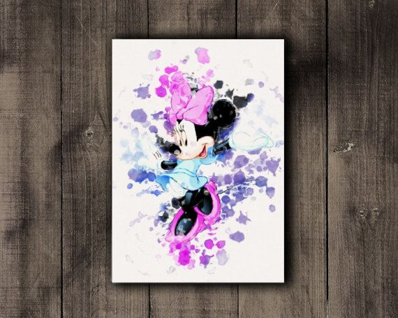 Printable Disney Minnie Mouse Watercolor Print by CoffeeLoffe
