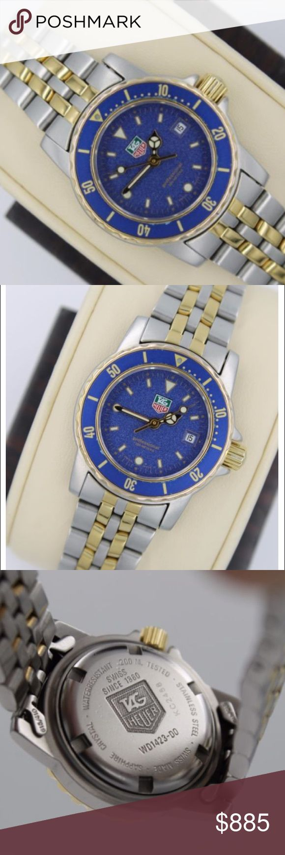 Tag Heuer WD1423 1500 Professional Blue SS Watch Tag Heuer WD1423 women's 1500 professional. It's case diameter is  28mm.....31mm w/crown. The crystal is in mint condition. The back casing perfect. The bracelet is stainless steel and gold plated..The bezel shows look perfect. I would rate as a solid 9 out of 10. New battery. Will fit 6.85 inch or smaller. Has rare wet suit extender so will fit larger than 6.85. Bezel turns in counter clockwise direction. It is quartz movement and 200 meters…