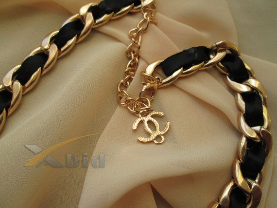 Chanel necklace. Gold plated chunky chain necklace with by xabid, $32.00