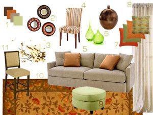Fall Home Mood Board Green Color SchemesLiving Room