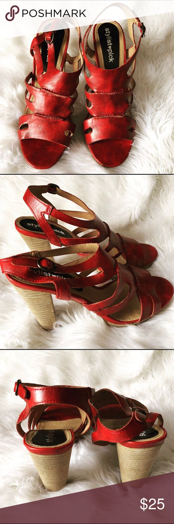 Red color gladiator sandals: size US 8 Red color gladiator sandals with 4.5 inches wooden heels from the Stylist Pick brand in the UK. Shoes are open toed, with straps and a buckle. They are new and in great condition. (NEW)  The shoe box/packaging is damaged and would not ship with shoes. Stylist Pick Shoes Sandals
