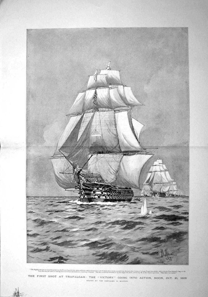 Antique Print of 1893 Trafalgar War Ship Victory Santissima Trinidad
