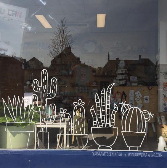 Cactus #raamtekening in de etalage van http://lieve-lings.nl