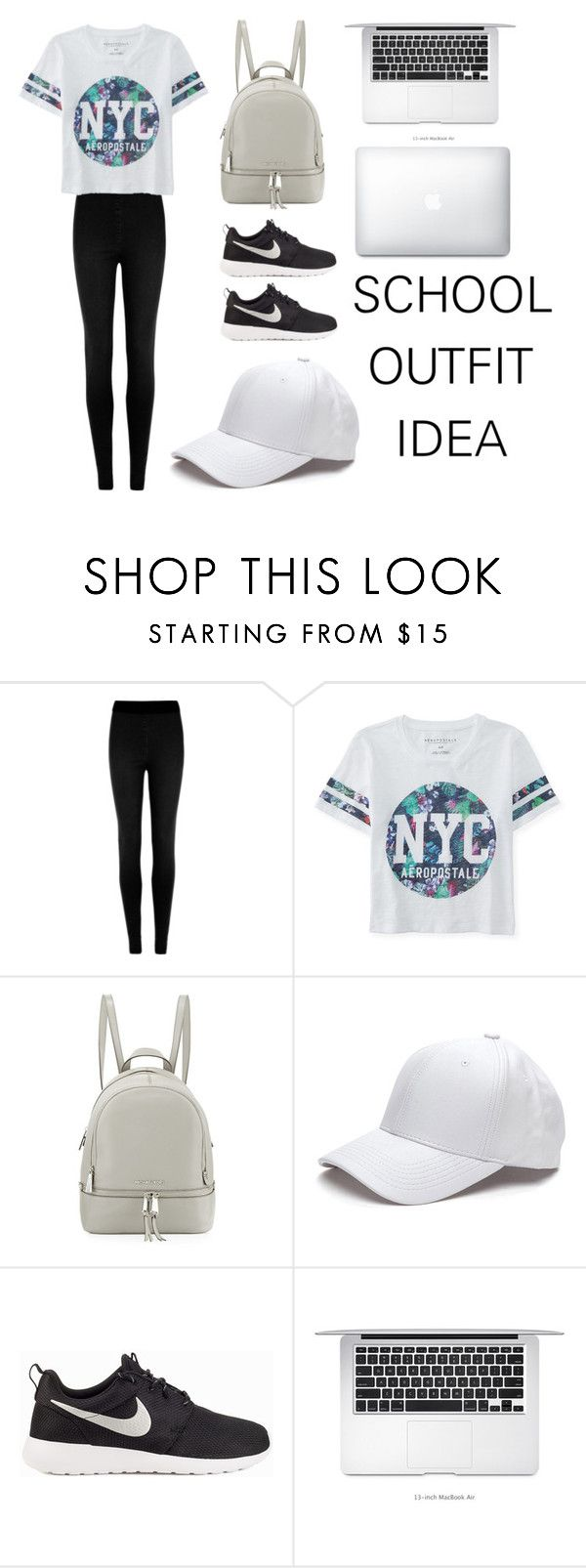 """""""Back To School Outfit #6"""" by gabrielleluy ❤ liked on Polyvore featuring M&S Collection, Aéropostale, MICHAEL Michael Kors, NIKE, school, sporty, girl, Minimaliststyle and fashionset"""