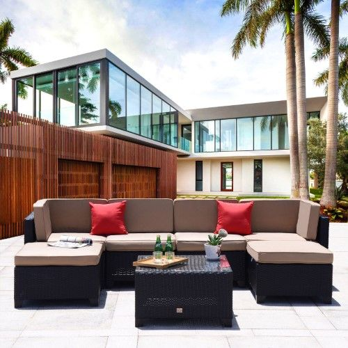 Best Cloud Mountain Wicker 7 Piece Patio Sectional Sofa Set 400 x 300