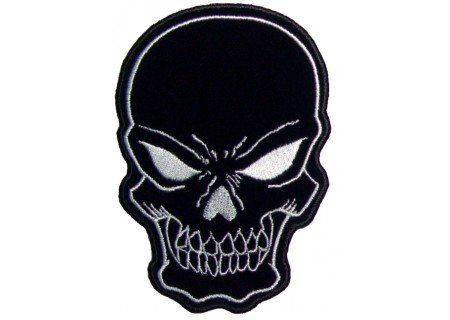 Embroidered Iron On Patch - Black Skull 4.25in x 3in Biker Patch