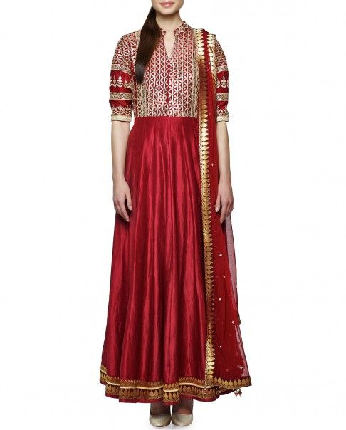 Rose Red Anarkali Suit with Gota Work - 99 Anarkalis We Love - Boutique
