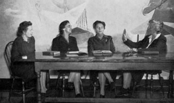 Group of faculty from the 1946 Sarah Lawrence College Yearbook. Left to right: Maria Goeppert Mayer, Esther Raushenbush, Genevieve Taggard, Madeleine P. Grant. Copyright Sarah Lawrence College Archives.