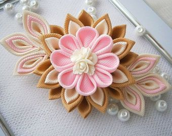 Handmade Kanzashi fabric flower grosgrain by MARIASFLOWERPOWER