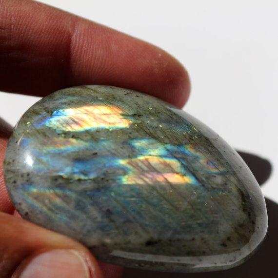 Labradorite Palmstone with Spectrolite by AmethystandMoreStore
