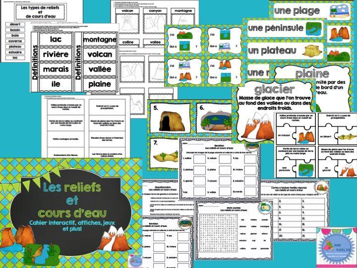 French Landforms interactive notebookEnsemble sur l'étude des reliefs et cours d'eau/ cahier interactif et activités en français