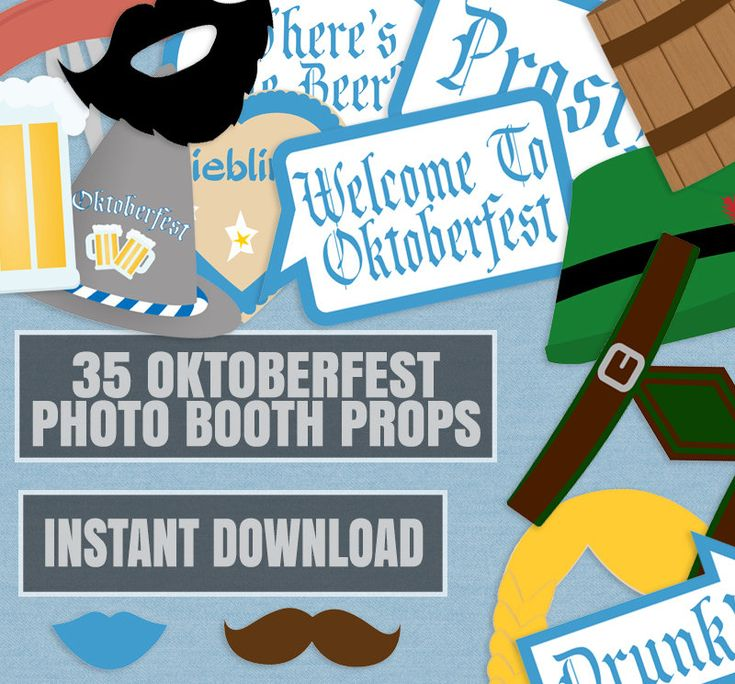 35 Oktoberfest Party props, Photo booth props for oktoberfest, beer festival photobooth props, german oktoberfest party diy props,…