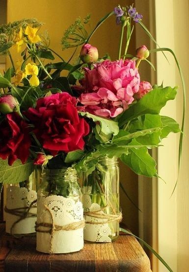 Peonies  Mason Jars with paper doilies and raffia - country chic