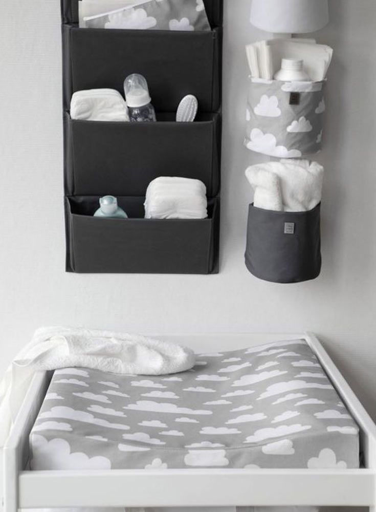 The Only Girl in the House Blog gives great interiors inspiration for grey nursery, gray nursery, baby room, baby bedroom, kids bedroom. grey changing table with Farg Form scandi change mat. Ideal for baby