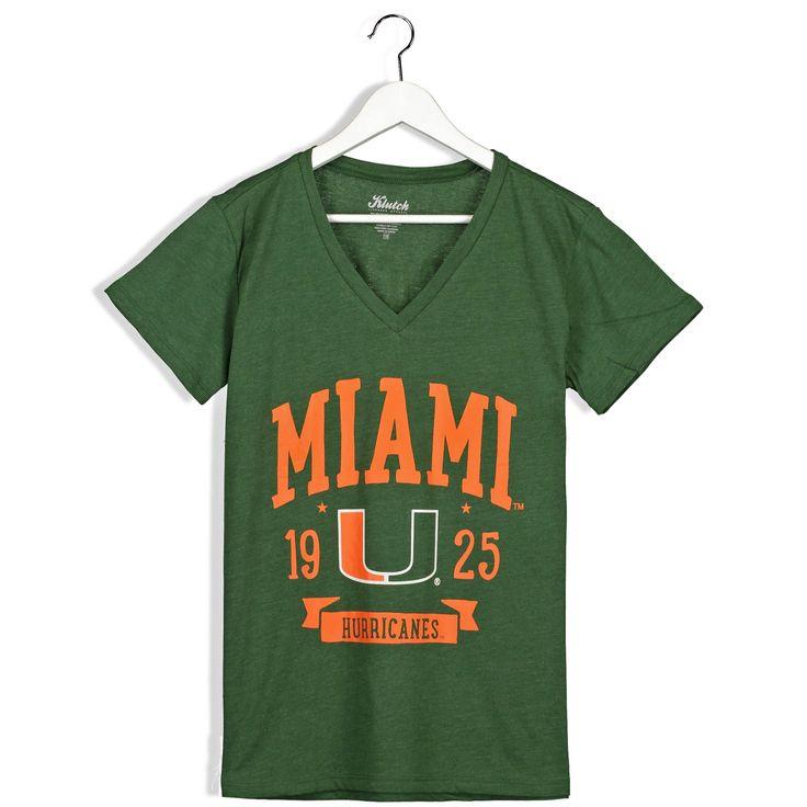 Miami Hurricanes Women's Green Plus Sizes Banner V-Neck T-Shirt