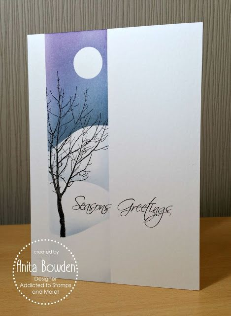 handmade winter card from Neet & Crafty ... one layer ... luv the sponged snowbanks with stamped bare tree ... effective use of masking creates a vertical panel with lots of depth ... great card!