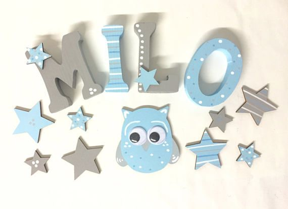 Wooden Letters *STARS* Handmade Wooden Letters - 8 cm / 3,15 inches high. *The price is for ONE Wooden Letter* - please let us know the whole name with your order. We will match the price in the confirmation. Other colors or themes for your Wooden Letters are no problem