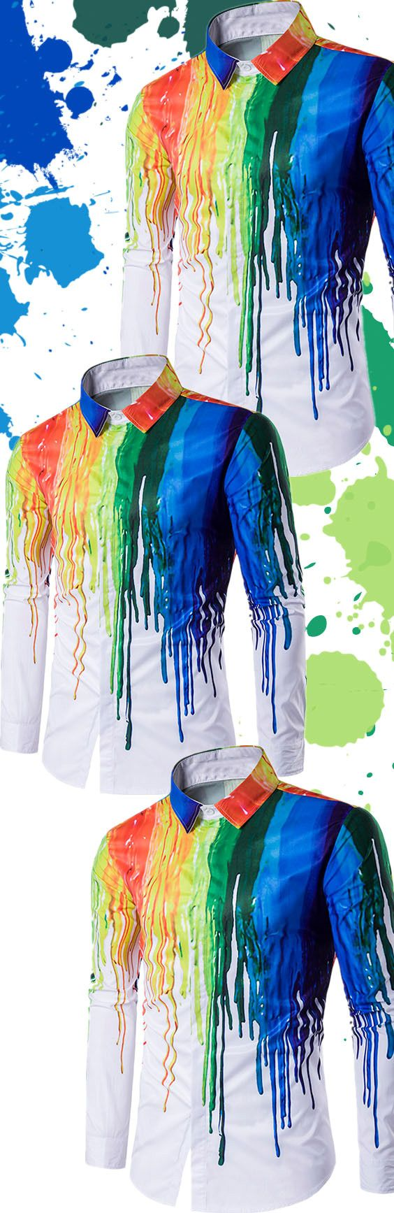 $15.17 Colorful Splatter Paint Print Turndown Collar Long Sleeve Shirt - White