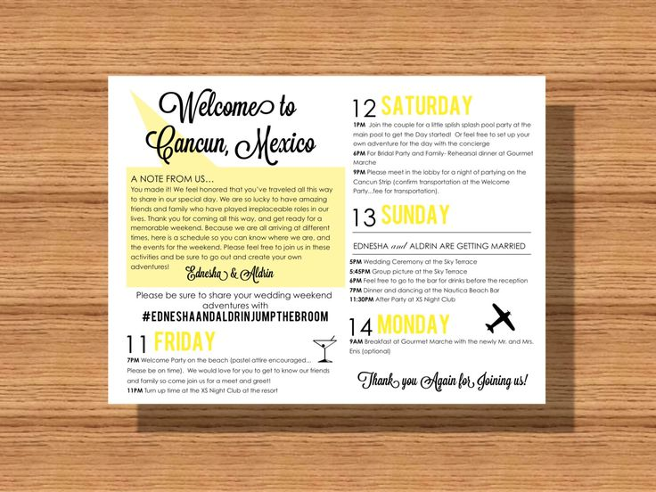 #Wedding Welcome Weekend #Itinerary, #WeddingSchedule of #Events, Wedding Itinerary for your #Welcome #Bag, Itinerary for your Special Event by WeddingsByJamie on Etsy