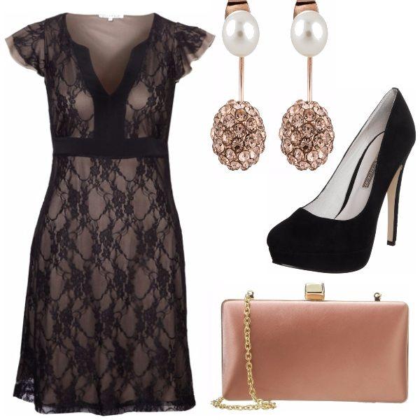 Non c'è nulla di più romantico del pizzo e l'abito di Anna Field ne è la prova; la sensualità del pizzo nero viene esaltata da un leggero tocco di colore. In una serata romantica il tacco è d'obbligo, ma in una scarpa pulita ed essenziale. Un tocco di colore negli accessori: un rosa delicato per borsa e orecchini, che scendono nella loro luminosità su un collo lasciato nudo e ben in vista, grazie ad un'acconciatura raccolta.
