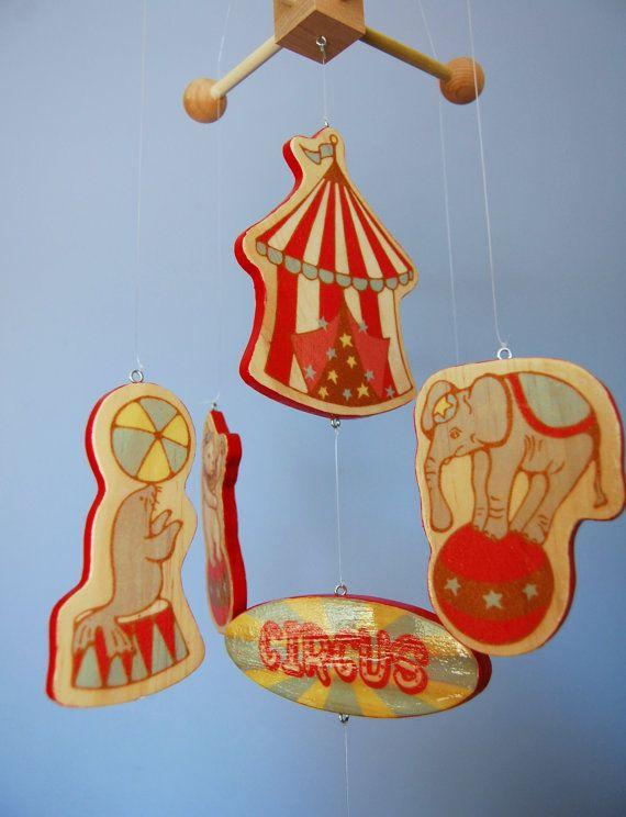 Baby Mobile Vintage Circus - Wood Mobile - Vintage Circus Nursery Decor