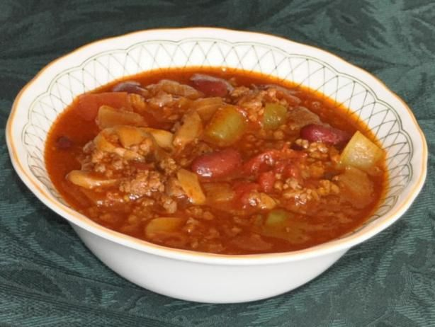 Tim Hortons Chili   								 If cooking the chili in a crock pot, drain the tomatoes; cover and cook on low for about 5 hours. Chili can be made ahead and refrigerated overnight. Freezes well too so woul...