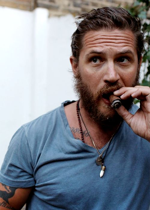Tom Hardy by Greg Williams, 2012... A beard and tattoos just my type!!!