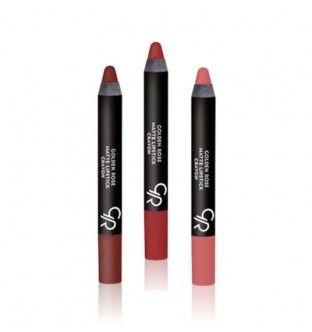 Een #lipstick in #potlood vorm. De matte lipsticks van #goldenrose zijn zijdezacht en goed dekkend. Dankzij de potlood vorm kunt u de lijnen van de lippen perfect volgen. De lippencils zijn verkrijgbaar in 19 kleuren. #pedicuregroothandel