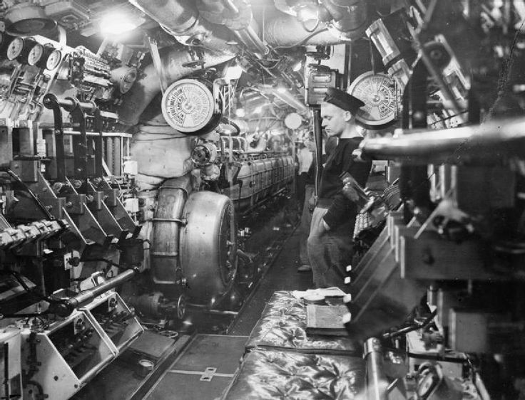 On board the submarine HMS TRIBUNE at Scapa Flow The motor room
