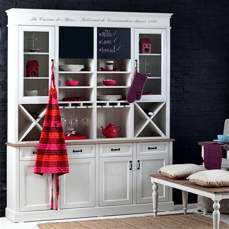 Like this New England style kitchen dresser, includes the double blackboard doors (with storage behind), to removable wine racks, shelves and hanging glass storage