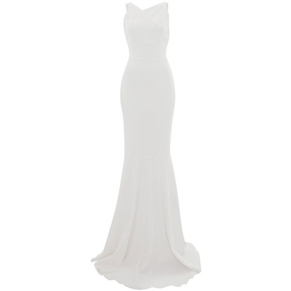 Roland Mouret White Veraha Cut-Out Back Stretch-Crepe Gown ($3,390) ❤ liked on Polyvore featuring dresses, gowns, long dresses, long white evening dress, asymmetrical top, white formal gowns, white evening dresses and formal dresses
