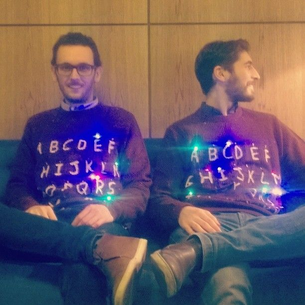 "Matching DIY Christmas jumpers inspired by Stranger Things: ""M E R R Y"" and ""CHRISTMAS"" lights on!  #StrangerThings #Merry #Christmas #jumper #StrangerChristmas #Xmas #DIY #colored #on-off #lights #Eleven #11 #Netflix #series"