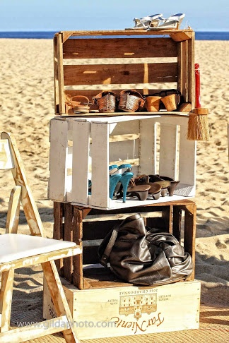 Clean you feet and shoe station...Beach wedding by www.lazygourmetcatering.com
