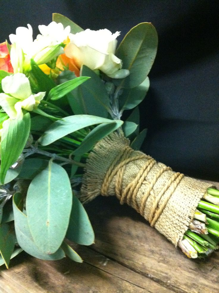 natural stems finished with hessian and twine