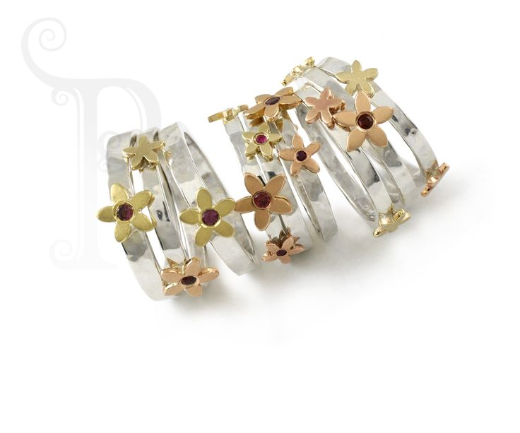 Handmade 9ct Gold Hammered Bands with Daisys set with Garnets and rhodalites