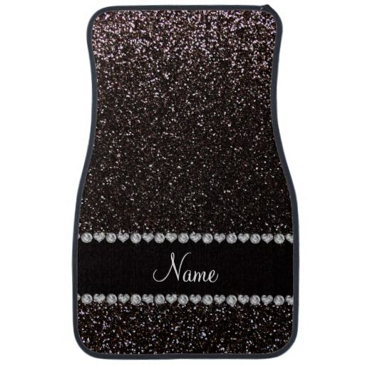 Custom name black glitter black stripe car floor mat
