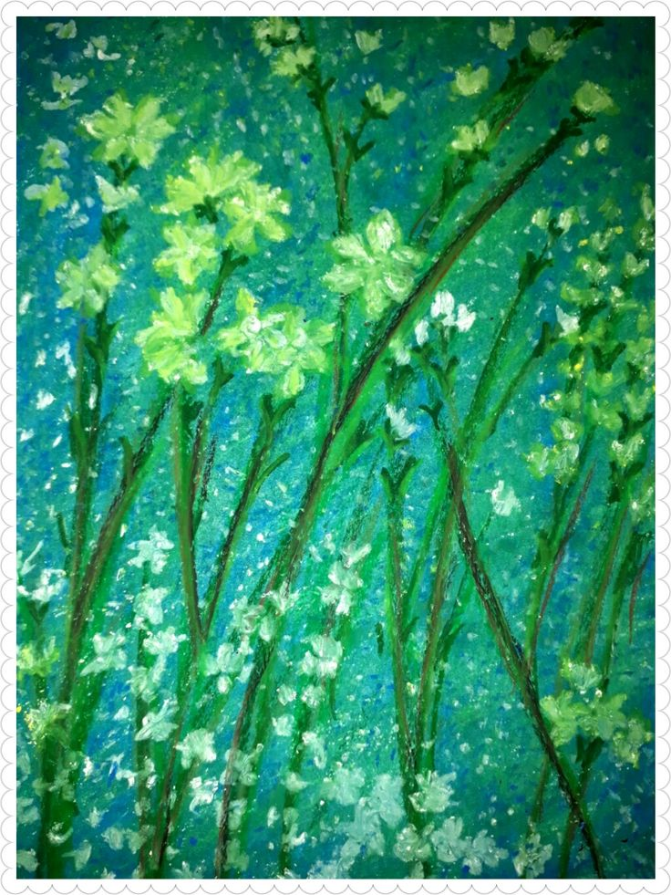 Sparkle yellow,oil pastel on paper,20x30