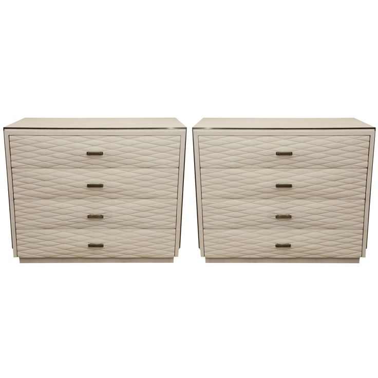 Pair of White Shagreen 4-Drawer Commodes with Quilted Drawers
