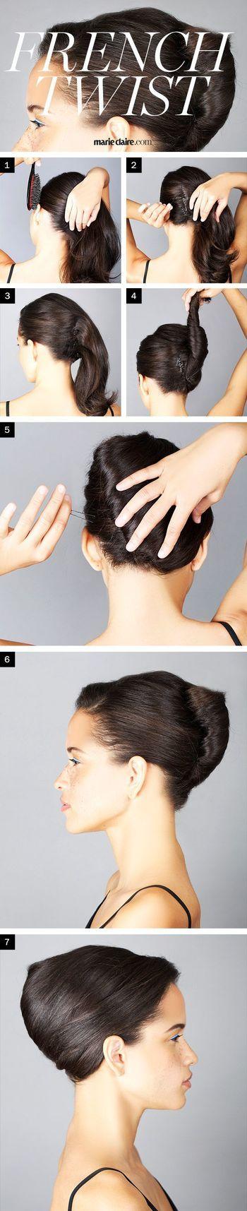 基本の「フレンチツイスト」の作り方です。  【手順】  Step1. サイドの髪をブラッシングしてなめらかな面をつくります。 Step2. Step3. 髪を固定するためにピンでとめていきます。ピンの口が上に向くように垂直にとめるのがポイントです。 Step4. 髪を持ち上向きにねじり上げていきます。ねじり終わったら毛先をツイスト部分に挟み込みます。 Step5. 完全に固定するためにツイスト部分にピンを追加していきます。(3〜4センチ間隔くらい。)  完成です!