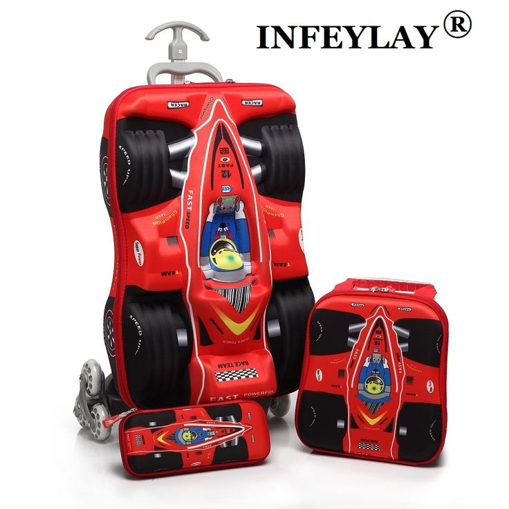 3PCS/set kids cars Travel Luggage 3D stereo Pull rod box cartoon child  pencil box children COOL suitcase gift Boarding box