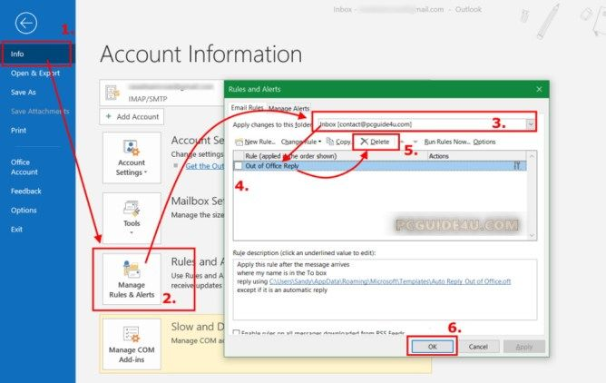Disable Automatic Reply From Outlook 2013 2016 2019 Pcguide4u Outlook Disability Accounting Information