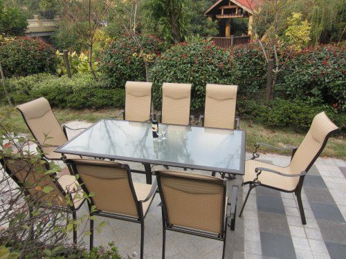 """9pc Cast Aluminum Sling Patio Furniture Set by Pebble Lane Living. $1199.99. Quick Dry Textilene Material. Aluminum Frame: Bronze. 8 Stacking Cast Aluminum Patio Dining Chairs : 41"""" H x 30"""" D x 27"""" W. Padded Headrest. 1 Aluminum Patio Table: 82"""" x 42"""". 1.5"""" Umbrella Hole with Plug. Save 52% Off!"""