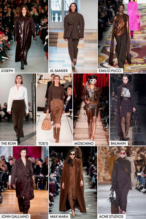 The chocolatey hueeveryone wore in slack-form and lip linerduringthe '90s (think Kate Beckinsale) has beenon the waysid, but now—thanksto The Row, Jil Sander, and Acne Studios—brown is definitely the new black.