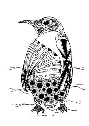 Intricate Penguin Adult Coloring Page Coloring Penguin Coloring