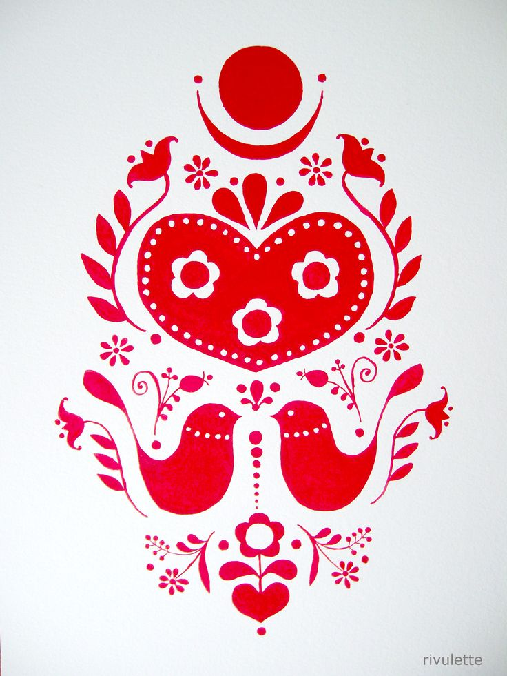A Drawing A Day - Day 33 - red folk art motif with birds, hearts, flowers - gouache on paper